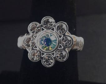 Crystal Flower Handmade Wire Wrapped Ring