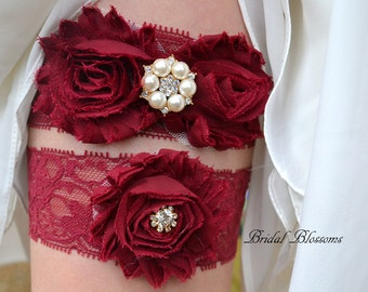 Burgundy & Gold Pearl Bridal Garter Set | Chiffon Fabric Flower Lace | Pearl Rhinestone Wedding Garter Stretch Lace Garter | Plus Size