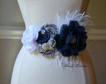 DANNY Gray Silver Navy Blue White Flower Maternity Sash | It's A Boy | Newborn Photo Prop | Baby Shower Belly Band Belt | Feathers Jewels