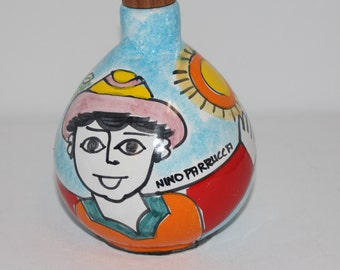 Vintage Nino Parrucca Hand Painted Olive Oil Pottery Jug With Cork Top Made in Italy