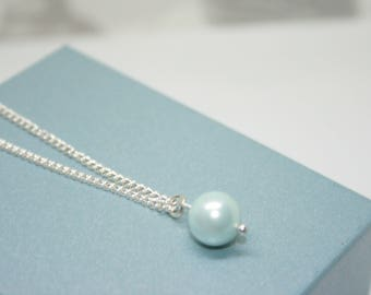 Single pearl Necklace, Mint Green, Bridesmaid Necklace, Thank You Gift, Shell Pearl, Wedding Jewelry, Gift For Her, Single Pearl Necklace