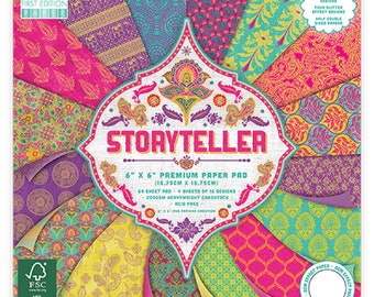 """First Edition 6"""" x 6"""" STORYTELLER 200gsm Patterned Craft Paper Pad - 64 Sheets"""