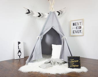 SALE! Grey teepee, kids Teepee, tipi, Play tent, wigwam or playhouse with canvas and Overlapping front doors