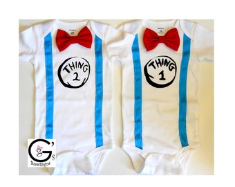Thing 1 Thing 2 Dr Seuss Inspired Twin Outfit Birthday Party Shirts Bow Tie Suspenders Onesie Bodysuit Tshirt Boys Smash Cake