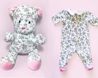 baby keepsake animals, baby shirt teddy bear, make animal from baby clothes, onesie teddy bear, memory stuffed animal, sleeper stuffed bear