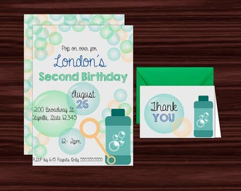 Printable Bubble Birthday Invitations in Blue and Green - Invitation Template - DIY in Adobe Reader - Instant Download