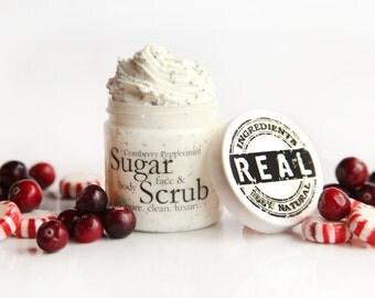 Organic Cranberry Peppermint Sugar Scrub / Organic Sugar Scrub / Sugar Scrub / Body Scrub / Face Scrub / Cranberry Peppermint / Face Scrub