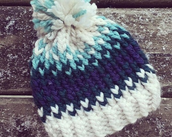 Women's Fair Isle Hat - winter hat - pom pom hat - knit beanie