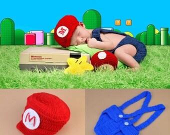 Super Mario Bros -  Baby Photo Prop Crochet Diaper Cover Set Baby Boy Crochet Outfit Baby Mario Costume Hat Photo Prop