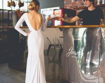 Backless wedding dress, Simple wedding dress, Mermaid wedding dress, Low back wedding dress, Open back wedding dress, 0007 // 2016