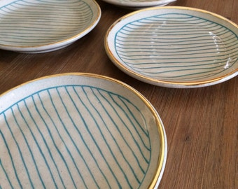 Gold and Teal Striped Small Plate