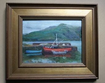 Oil Painting, Ireland, Leenane Harbor, Connemara, Seascape, Boats