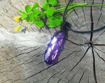 Titanium Aura Quartz Crystal Knot Tied Necklace
