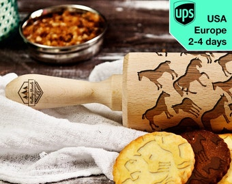 Horses - laser engraved rolling pin, embossing rolling pin