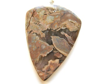 Jasper pendant, 2 by 3 inch, 8mm thick, teardrop shape, gray, tan and brown, Jewelry supply B-698