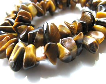 Tiger Eye beads, chips, nuggets, 9 inch strand, 8mm by 3 to 7mm, golden brown, Jewelry supply B-1660