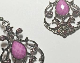 Pink Crystal Tibetan Silver Dangle Earrings