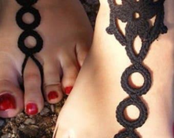 Black Crochet Flower Barefoot Sandals