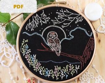 embroidery pattern pdf - Embroidery pattern, owl embroidery pattern, modern embroidery, DIY needlecraft, owl pattern, DIY hoop art