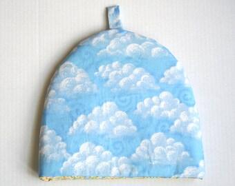 Handmade Tea Cozy, Tea Cozie, Puffy Clouds Pattern