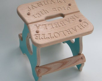 Personalised children's stool / engraved new baby stool / nursery decor / 1st Birthday gift /Christening gift /handmade children's furniture