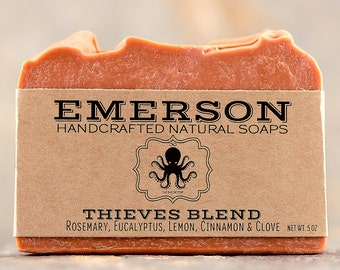 100% Natural Thieves Blend Soap with Eucalyptus, Rosemary, Lemon, Cinnamon, Clove • Palm Free, Vegan Soap, 4 Thieves