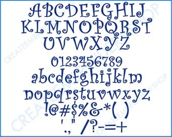 """Curly Sue Font - 1"""", 1.5"""", 2"""", 2.5"""" Sizes"""