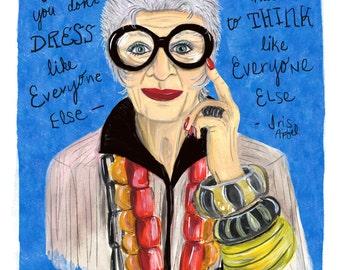 8x10 Iris Apfel Art Print. Illustration. Brooklyn Art