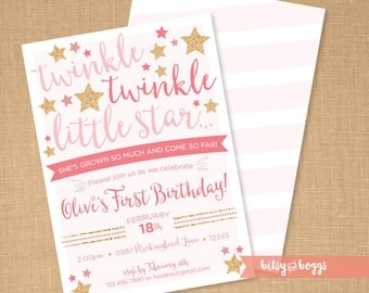 twinkle twinkle little star first birthday invites twinkle