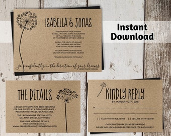 Rustic Dandelion Wedding Invitation Template - Wish Printable Set - Flower on Kraft Paper | Editable PDF Instant Download Digital File Suite