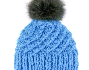 Olive real Fox Fur Pom Pom hand knitted Turquoise Hat
