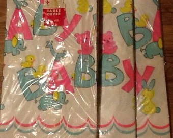"""NOS, 3,Vintage Baby Shower Tablecloths, paper 53 3/4"""" x 88"""" disposable, boy or girl"""