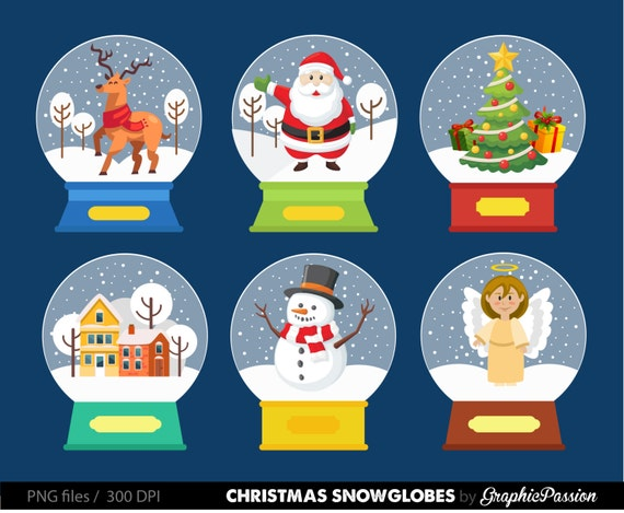 Snowglobes Clipart Christmas Clipart set Santa clip art Christmas clip ...