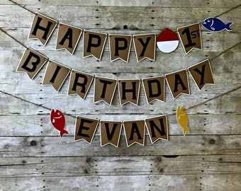 Fishing Birthday Banner - gone fishing - party supplies