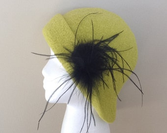 Wool Felted Hat Lime Black Ostrich Feather Clip, Womens Winter Hat, Cap