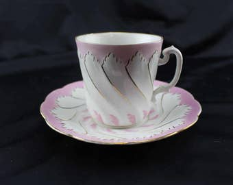 Vintage Men's Mustache Tea Cup China Pink and White