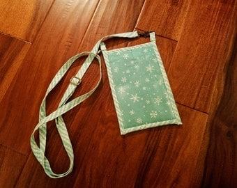 Blue Holiday Snowflake Pocket Purse