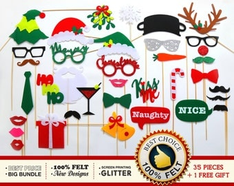 Christmas Photo Booth Props 36pc Set - FELT and GLITTER photo booth props - Christmas Decorations - Holiday photo booth props