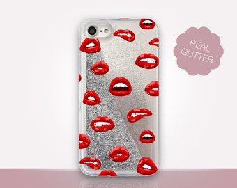 Lips Glitter Phone Case Clear Case For iPhone 8 iPhone 8 Plus - iPhone X - iPhone 7 Plus - iPhone 6 - iPhone 6S - iPhone SE  iPhone 5