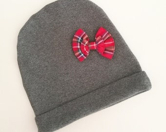 Gray hat with bow Scottish