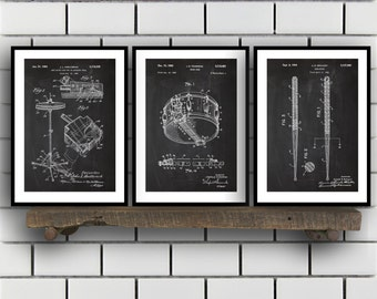 Drum Patents Set of 3 Prints, Drum Prints, Drum Posters, Drum Blueprints, Drum Art, Drum Wall Art, Sp316