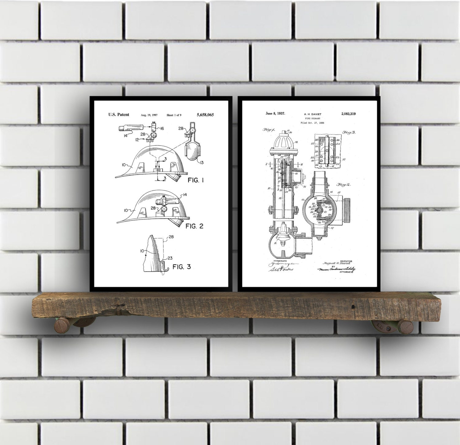 firefighter patent prints firefighter set of two vintage