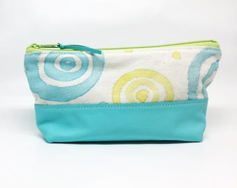 Hand Painted Canvas Zipper Pouch Aqua and Green Leather Small Handmade Makeup Bag Gifts for Her Under 50 School Supply Organizer Travel Case