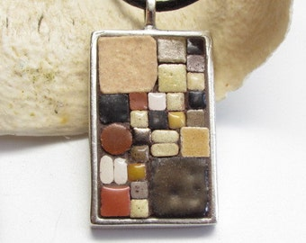 Mosaic Art Pendant, Mosaic Jewelry, Natural, Moroccan Tiles, Pewter