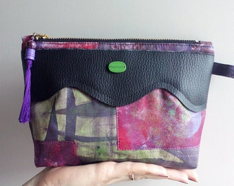 Makeup bag.Purse organizer.Pencil bag.Gift ideas for women.One of a kind  bag.Pouch.Hand painted pouch.Unique.Toiletry storage.