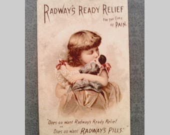 Antique Victorian Trade Card for Radway's Ready Relief, Girl with Doll, Collectible Lithograph Advertisement, Circa 1890s