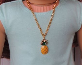 Gold Pineapple Necklace for American Girl Doll and other 18 inch dolls