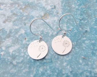 Dandelion earrings, sterling silver earrings, make a wish