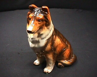 Vintage Very Preety, and Highly Detailed Porcelain Collie Dog Statue in Perfect Condition
