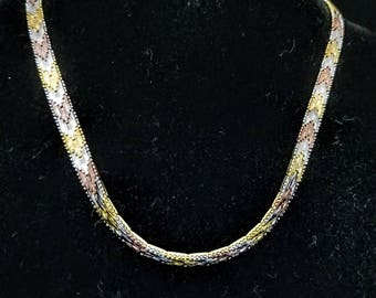U neck - 24K Gold Plated Sterling Silver Tri-Color 16 inch choker